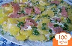 Фото рецепта: «Картофель с колбасой и яйцами в мультиварке»