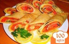 Фото рецепта: «Блинчики с семгой и сыром»