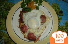 Фото рецепта: «быстрый завтрак яйца с колбасой»