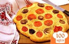 Фото рецепта: «Лепешка с помидорами и луком»