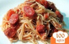 Фото рецепта: «Спагетти в соусе с салями»