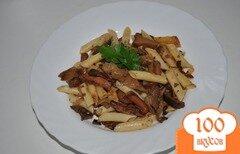 Фото рецепта: «Пикантные макароны с грибами-вешенками»