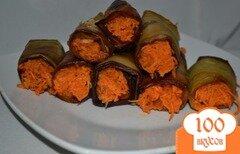 Фото рецепта: «Рулеты из баклажан с корейской морковью»