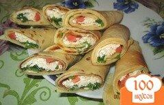 Фото рецепта: «Блины с семгой и плавленым сыром»