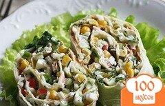 Фото рецепта: «Очень вкусный салат в лаваше»