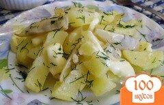 Фото рецепта: «Картофель со спаржевой фасолью и сыром»