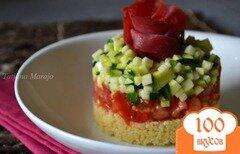 Фото рецепта: «Салат-закуска с овощами и крупой кус кус»