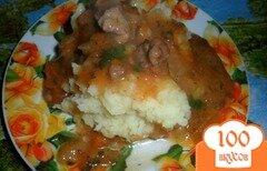 Фото рецепта: «Подлива с свиной мякотью на сковороде»