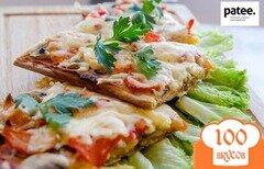 Фото рецепта: «Вегетарианская пицца на тесте без дрожжей и яиц»