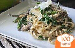 Фото рецепта: «Спагетти с грибами, спаржей и шпинатом»