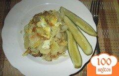 Фото рецепта: «Жареная картошка с яйцом, луком и чесноком»