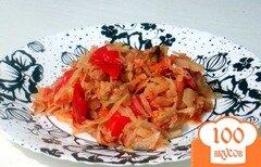 Фото рецепта: «Капуста тушёная с мясом и с болгарским перцем»