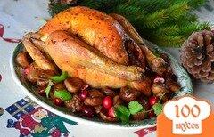 Фото рецепта: «Курица фаршированная айвой и копченой ветчиной»