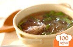Фото рецепта: «Суп из свинины с рисовой лапшой»