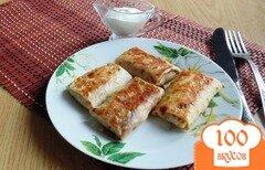 Фото рецепта: «Блинчики с мясом, грибами и зеленым луком»