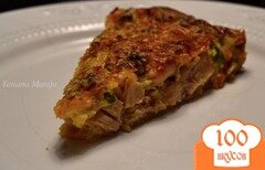 Фото рецепта: «Открытый пирог с копченой курицей и зеленым горошком»