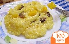 Фото рецепта: «Кукурузная каша с грибами и тыквой»