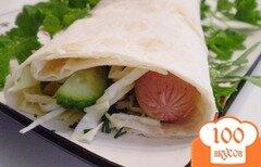Фото рецепта: «Сосиски в лаваше»