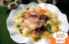 Фото рецепта: «Картофель тушёный с курицей и горошком»
