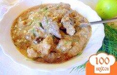 Фото рецепта: «Печень с грибами и сметаной.»