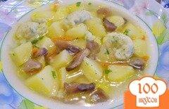 Фото рецепта: «Суп с грибами, клецками и зеленью»