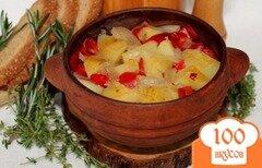 Фото рецепта: «Картофель с болгарским перцем запеченный в горшочке»