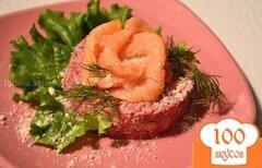 Фото рецепта: «Свекольный салат с копченой семгой»