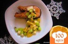 Фото рецепта: «Стейк горбуши с фруктовой сальсой»