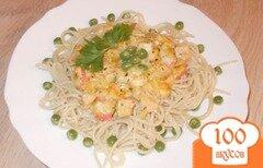 Фото рецепта: «Спагетти с семгой и крабовыми палочками»