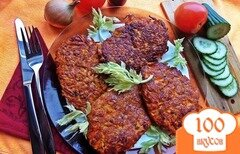 Фото рецепта: «Печеночные котлеты в морковной шубе»