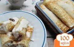 Фото рецепта: «Блинчики с творогом под яблочным соусом»
