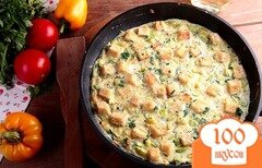Фото рецепта: «Яичница с кабачками и хлебом»