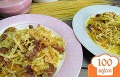 Фото рецепта: «Спагетти с колбасками в сливочном соусе»