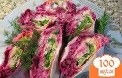 """Фото рецепта: «Традиционный салат """"Селедка под шубой"""" для фуршетного стола»"""