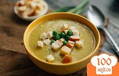 Фото рецепта: «Суп-пюре из сельдерея и зеленого горошка (веганский вариант)»