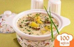 Фото рецепта: «Сырный суп с белыми грибами»