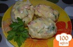 Фото рецепта: «Картофель фаршированный курицей и овощами под сырным соусом»