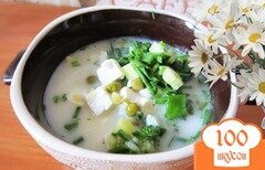 Фото рецепта: «Окрошка с горошком и сыром»