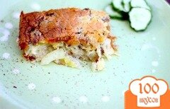 Фото рецепта: «Бюджетная картофельная запеканка с сайрой»