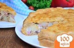 Фото рецепта: «Тарт с картофелем, ветчиной и грибами»