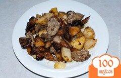 Фото рецепта: «Картофель с грибами. Картошка с грибами и куриной печенкой»