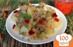Фото рецепта: «Картофель тушеный с телятиной, перцем и лепестками чернобрывцев»