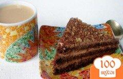 Фото рецепта: «Торт на заварном шоколаде с грецкими орехами и сметанным кремом»