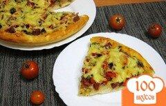 Фото рецепта: «Пицца с грибами и сервелатом»