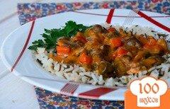 Фото рецепта: «Куриные сердечки в грибном соусе»