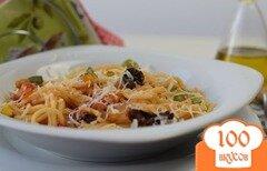 Фото рецепта: «Спагетти с вялеными помидорами и кабачками»