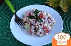 Фото рецепта: «Салат с рисом и копченой колбасой»