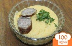 Фото рецепта: «Суп - пюре с гороха с домашней колбаской»