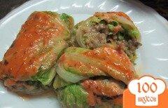 Фото рецепта: «Голубцы в пекинской капусте с кукурузной крупой и грибами»