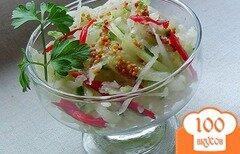 Фото рецепта: «Салат с редькой, огурцом и сладким перцем»